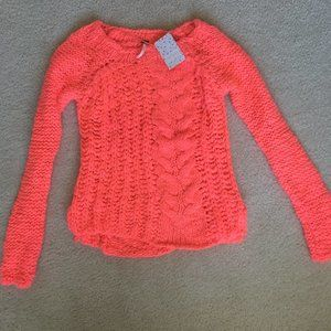 NEW FREE PEOPLE NEON PINK CABLE KNIT SWEATER SMALL